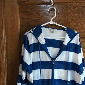 Royal blue/white zipper sweater